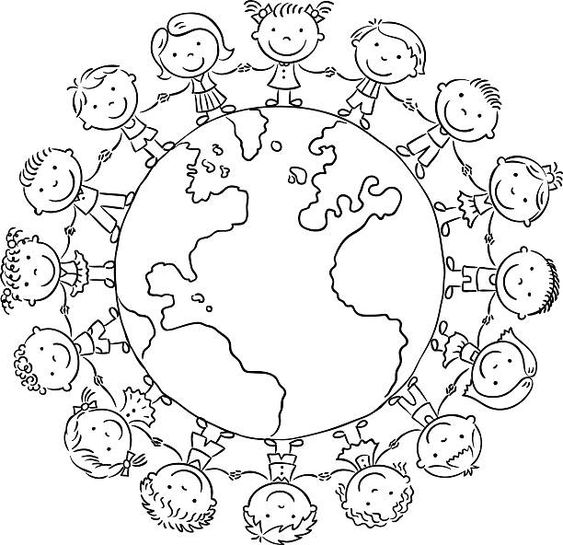 Children round the globe, outline vector art illustration