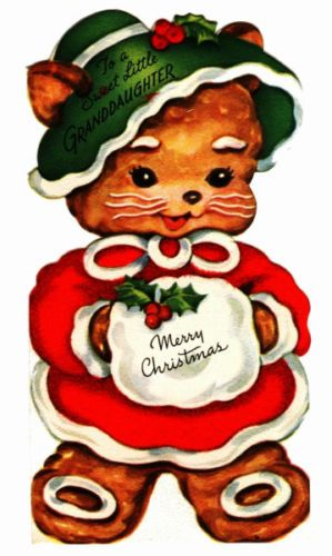 Vintage-Christmas-Card-Image-On-CD-Gingerbread-Kitten-With-Icing