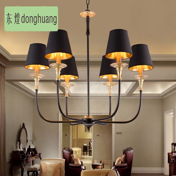 2016 новый! Американский стиль роскошный старинный промышленные светильники ресторан спальня гостиная кафе огни E14 медь люстра