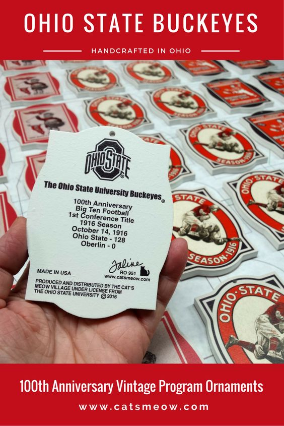 Look at that score! We're printing 3 vintage program ornaments to celebrate Ohio State University Buckeyes 100th Anniversary of Big Ten Football 1st Conference Title.    Don't miss adding these scarlet and gray ornaments to your Christmas tree this year! Handcrafted in Wooster, Ohio...so our Buckeye blood runs thick!
