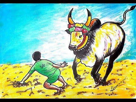 Jallikattu Drawing Pongal 2019 How To Draw Bull Drawing Master Visuraam Kalavum Katru Rangoli Designs Images New Rangoli Designs Pongal Wishes In Tamil