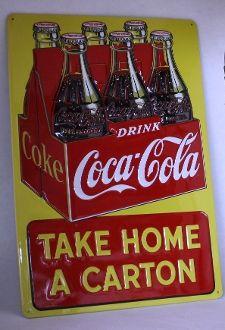"Coke ""Take Home a Carton"" Sign. Embossed metal. - Junk Drunk Jones"