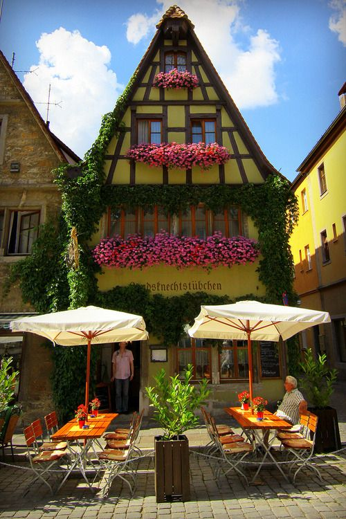 This is a roughly 1,000 year old pub dating back to the days of the Roman Empire, if I remember correctly. Located in old town Rothenburg ob der Tauber, Bavaria, Germany.