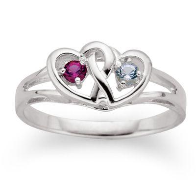 sterling silver interlocked hearts couples birthstone ring. Black Bedroom Furniture Sets. Home Design Ideas