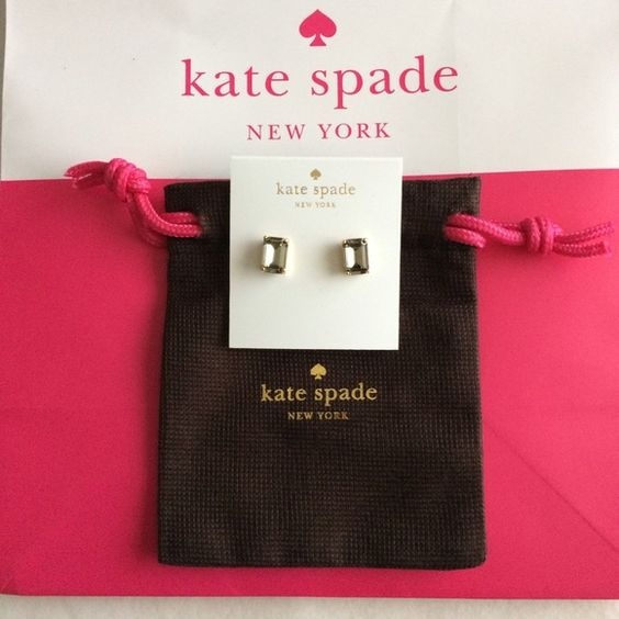 "KSNY Emerald cut studs earrings Authentic Kate Spade emerald cut studs earrings in ""black diamond""; brand new; includes dust bag as pictured. kate spade Jewelry Earrings"