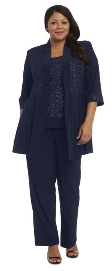 R M Richards Plus Size Formal Pants Suit