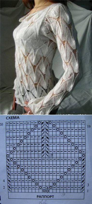 Интересный пуловер спицами. | Спицы - Изделия - Джемперы, Пуловеры, Свитера | Постила:
