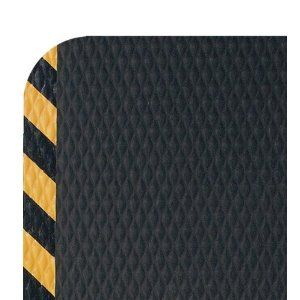 """Andersen 424 Nitrile Rubber Hog Heaven Anti-Fatigue Mat with Yellow Striped Border, 3' Length x 2' Width x 7/8"""" Thick, For Wet/Dry Areas"""