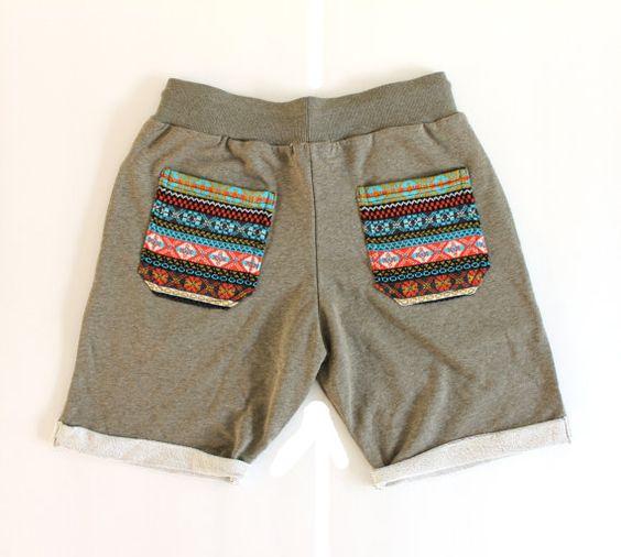 Aztec bohemian Sweat Short Pant Men Hipster by Trendbeach on Etsy