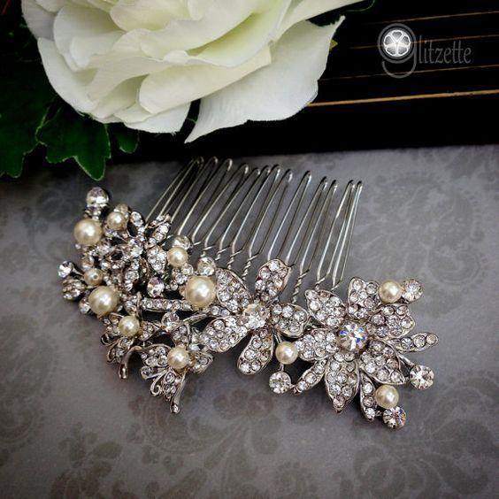 morceau de cheveux peigne de mariée perle casque par Glitzette