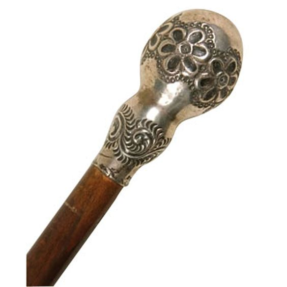 1890s Hand Chased Sterling Knob, Beechwood Shaft Walking Stick