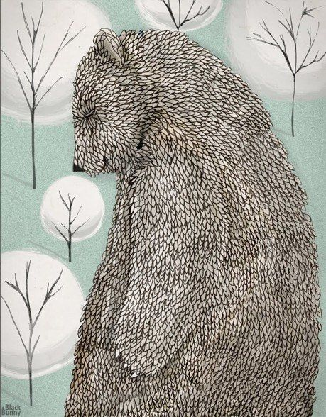 black and white with a bit of pastel.monochrome subtle tones.Love the bear
