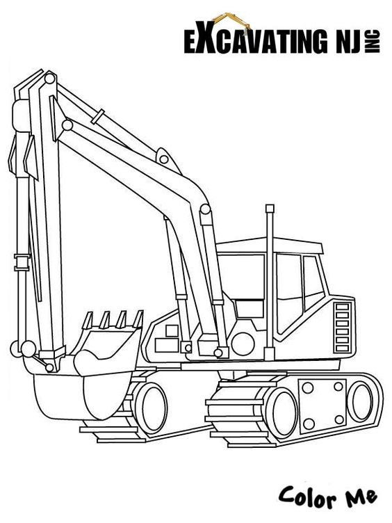Excavator coloring page