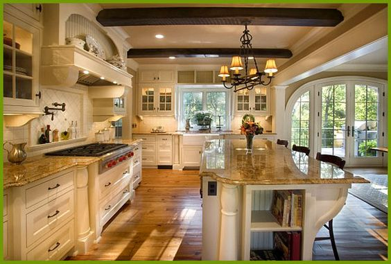 Galley kitchen ideas with large space and elegant lighting for Large galley kitchen designs