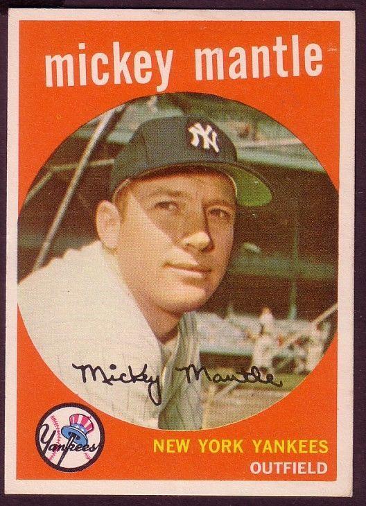 1959 Topps Mickey Mantle Card No 10 Near Mint Baseball Cards Baseball Trading Cards Baseball Card Values