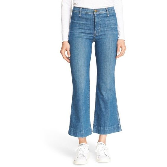Women's The Great. High Rise Crop Flare Jeans ($285) ❤ liked on Polyvore featuring jeans, clear water wash, blue jeans, high-rise flare jeans, flare jeans, blue denim jeans and high rise jeans