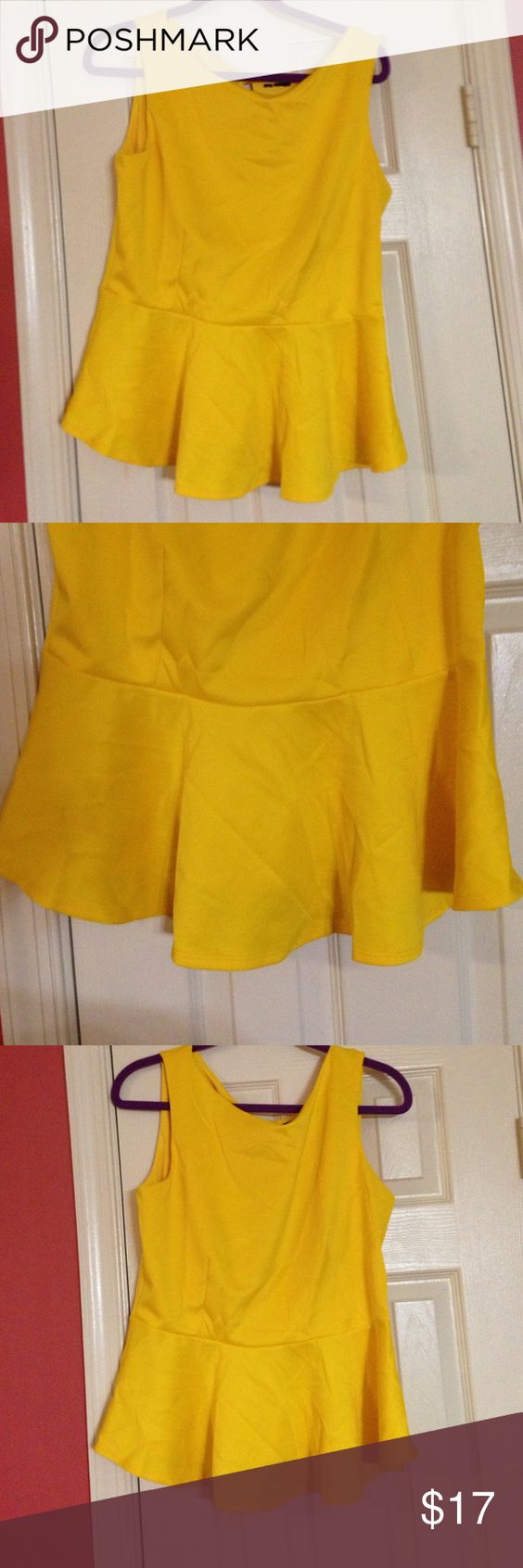 Yellow Peplum top Bright yellow peplum top with keyhole closure perfect for summer!! ASOS Tops Blouses