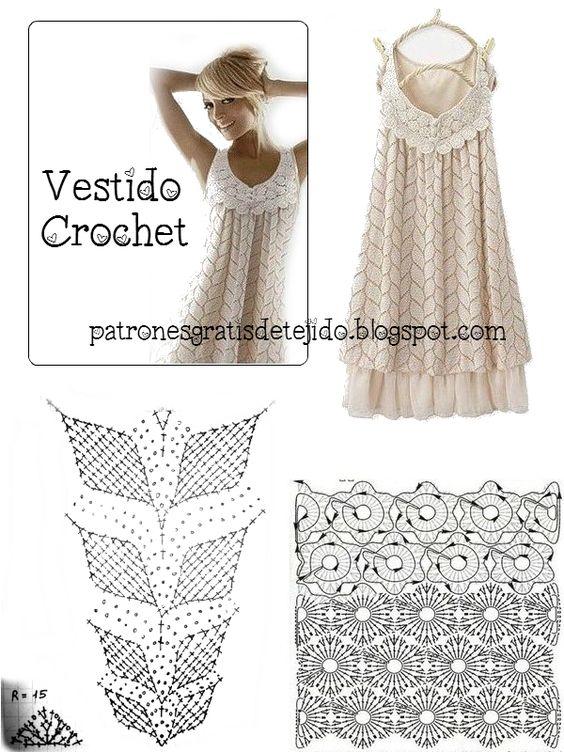Crochet y dos agujas: Patrones Crochet y Dos Agujas para vestido: