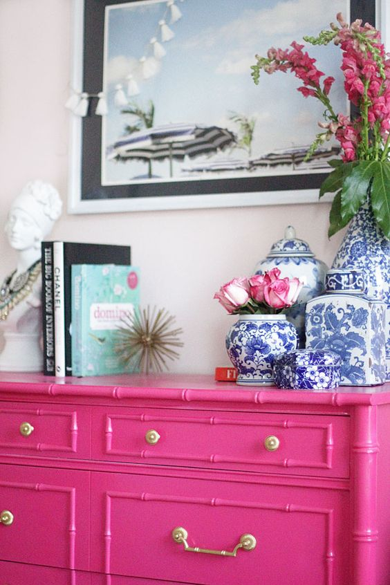Guest Bedroom | Painted Furniture | Bamboo Dresser | Regency | Ginger Jar | Beach Print | Pink Dresser www.styleyoursenses.com: