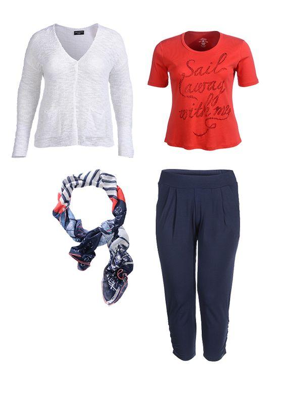 "Outfit von ""Via Appia Due"" | Langarm-Strickjacke + Printshirt + geraffte Hose + stylisch bedruckter Schal | ADLER OUTFITS"