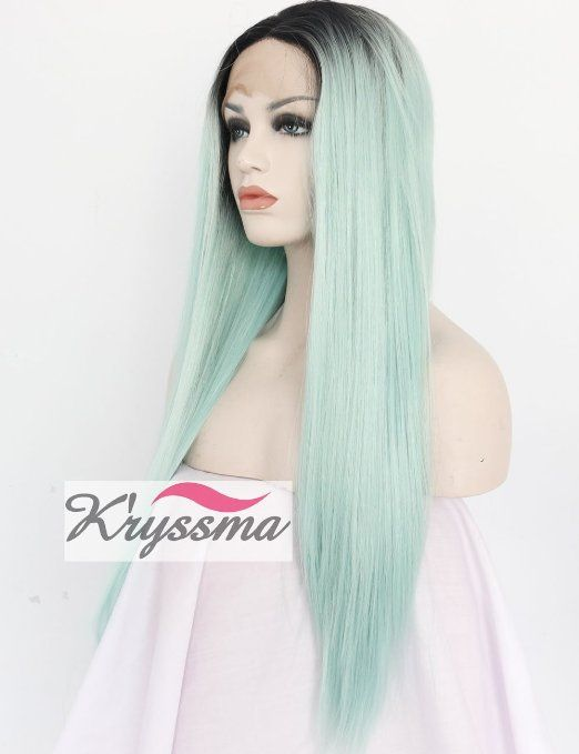 K'ryssma Christmas Long Ombre Synthetic Wigs for Women Straight Green Wig Dark Roots Heat Resistant Fiber Hair 22 Inches