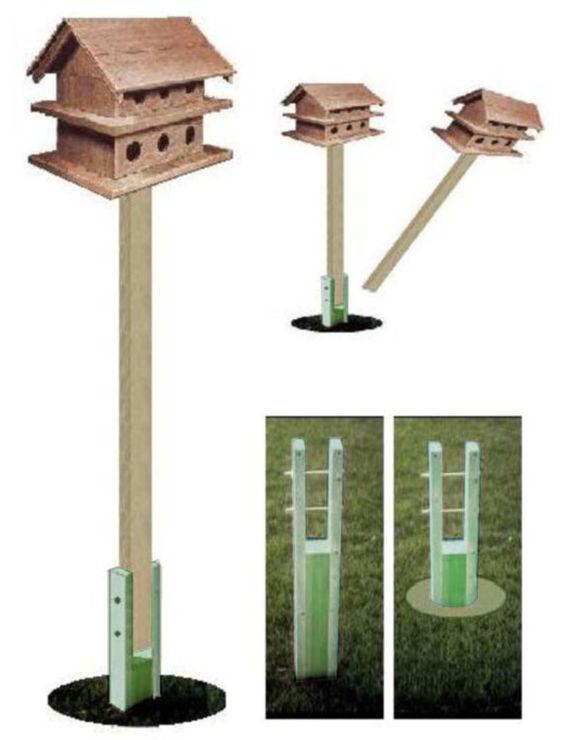 Ark workshop ground socket for wooden 4x4x8 39 birdhouse for Bird feeder pole plans