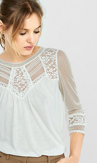 crochet and lace topped blouse