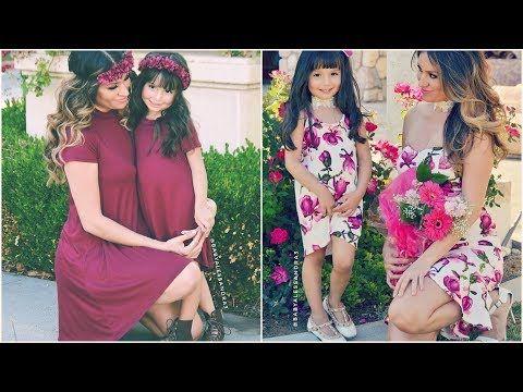 1 اشيك ملابس ام وبنتها واجمل إطلالات الأمهات مع بناتهن بنفس الملابس الفستان Youtube Short Sleeve Dresses Dresses With Sleeves Bridesmaid Dresses