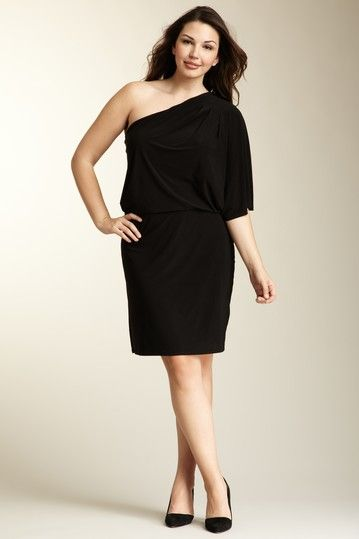 Jessica Simpson Plus Size One Shoulder Black Dress - More to Love ...