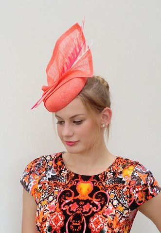 sinamay hat with feather feature SS14010 – Sassy Millinery Onlinestore
