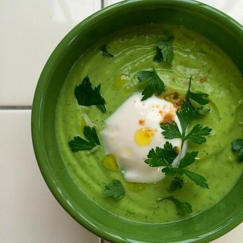 Cold soup of avocado & parsley,coriander flavor