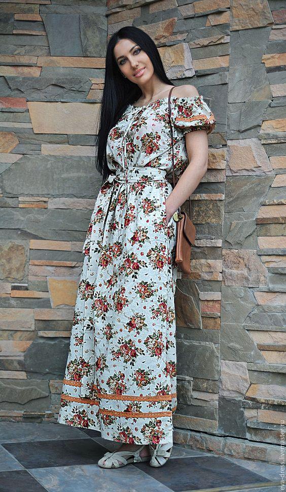 Сшить длинное женское платье из льна