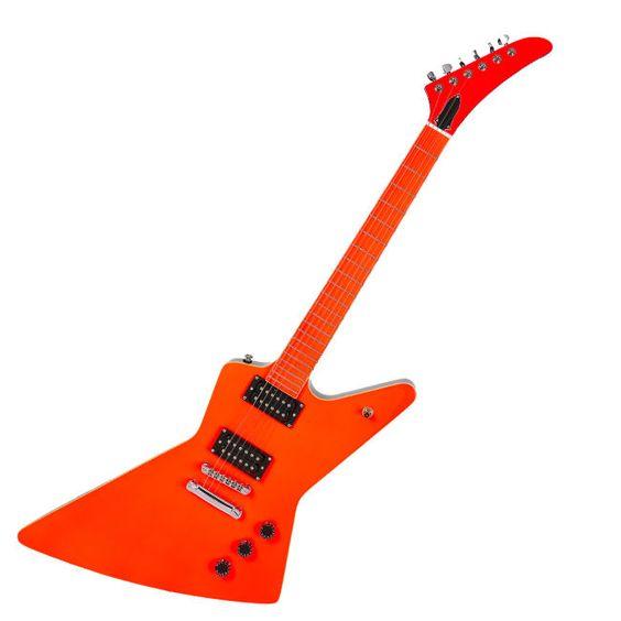 No Brand V Shape Electric Guitar Yellow Black Back Unique Design