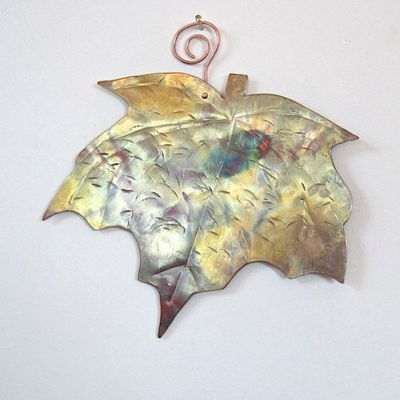 LOVE the patina color on this lovely leaf! Rustic Metalwork Art Copper Maple Leaf Eco by RoughMagicCreations
