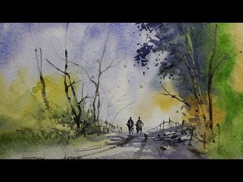 Easy Watercolour Landscape Painting For Beginners By Sikander