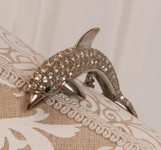 Vintage Rhinestone Dolphin Shoulder Pin Pave Setting by RebornToAdorn on Etsy