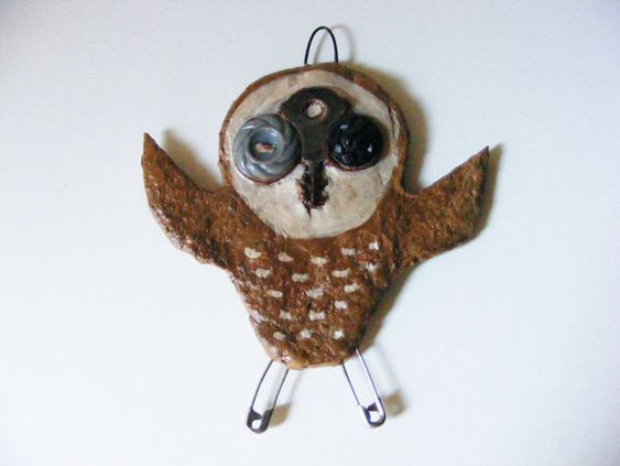 Primitive Halloween Folk Art  Barn Owl Ornament by seasonsart1031, $15.00