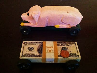 Boyscout Pinewood Derby Cars: Pig and Money
