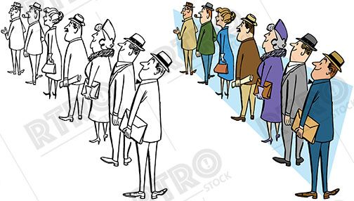 A Cartoon Of A Group Of Men And Women All Standing In Line And Waiting Vintage Retro Clipart Clip Art Stock Images Free A Cartoon Shutterstock