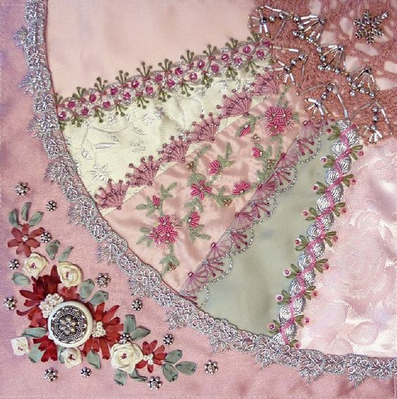Ribbon embroidery crazy quilting and on pinterest