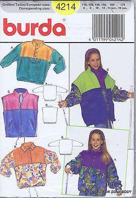 Sewing Pattern Burda 4214 Girls UNCUT Pullover Jacket Windbreaker ...