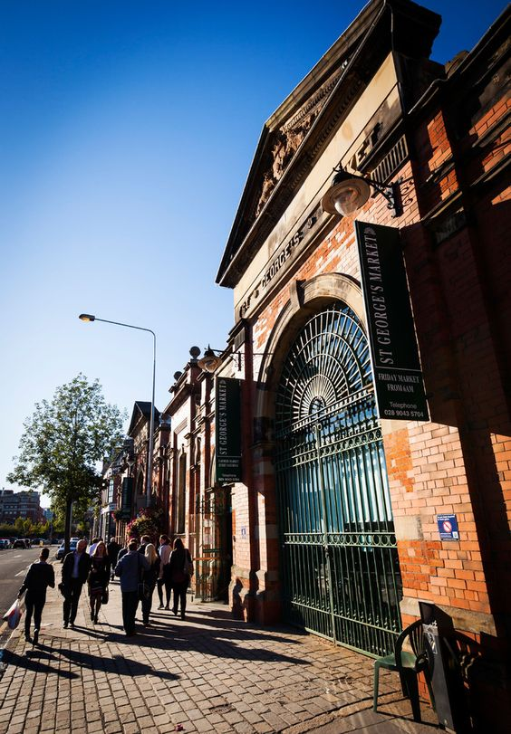 One of the entrances to Saint George's Market, Belfast, Northern Ireland.