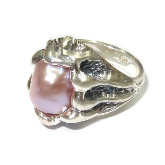 Pearl ring sterling silver, handmade, solid 925 silver, natural pearls, size 5 by StudioLangeron on Etsy