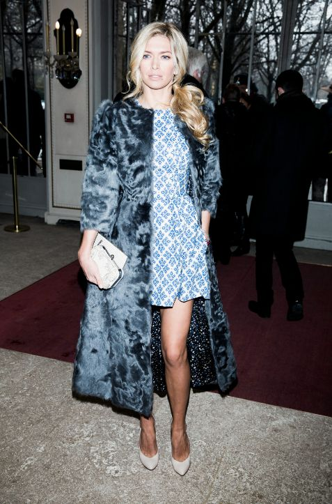 .. Vera Brezhneva wearing dress and fur coat byUlyana Sergeenko