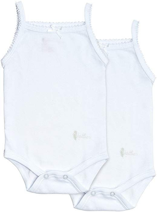 Amazon Com Feathers Baby Girls Solid White 100 Cotton Super Soft Camisole Onesies 2 Pack Clothing Clothes Onesies Sleeveless Dress Outfit