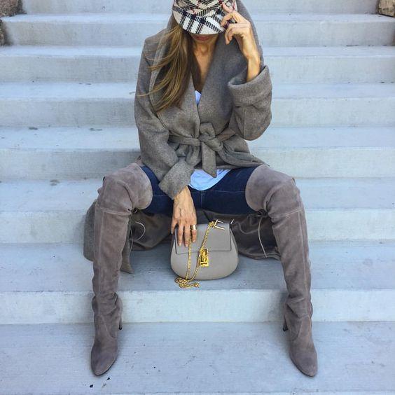 "Sasha Simon • lolariostyle on Instagram: ""Fall favorites, over the knee boots and statement coat✨ @liketoknow.it www.liketk.it/1NBOa #liketkit"""