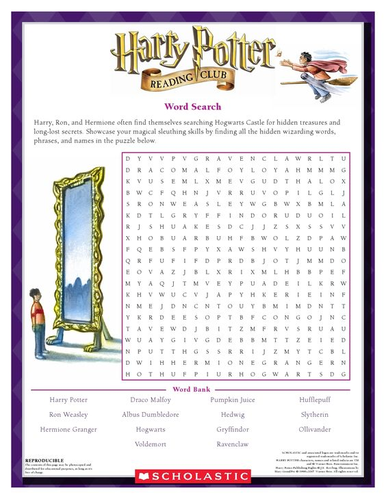 Harry Potter Book 1 Worksheets : Words search and unique on pinterest
