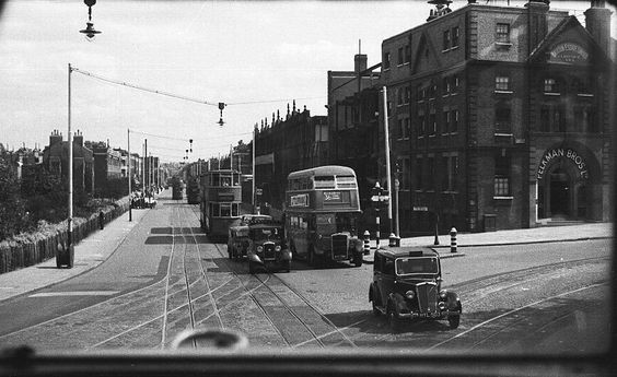 Junction of Camberwell New Road and Brixton Road at Kennington with Kennington Park on the left 1940's