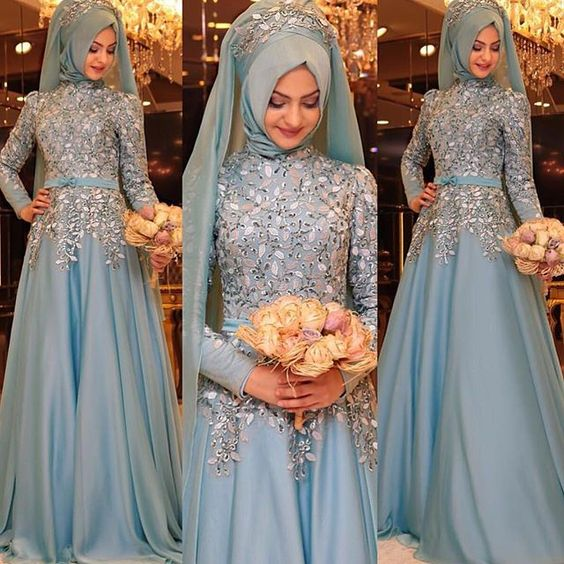 Blue Embroidered Turkish Hijab for brides