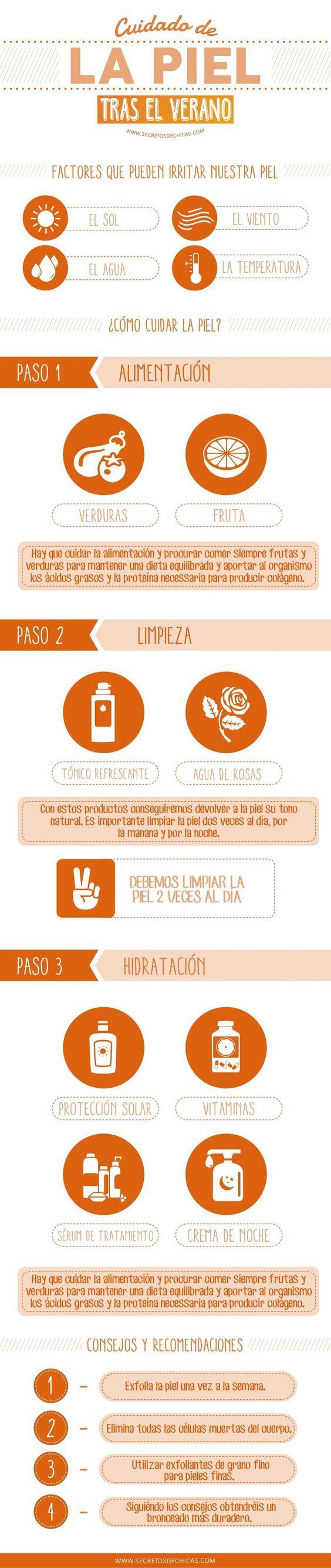 Cómo cuidar la piel después del verano. #infografia #salud #verano: